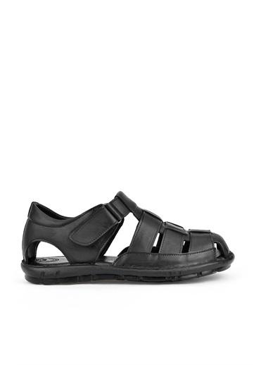 Ziya Ziya , Erkek Hakiki Deri Sandalet 111143 T199  Siyah